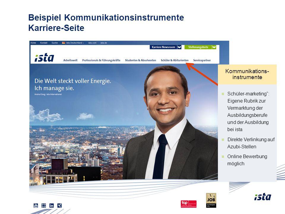 """Folie 11 Beispiel Kommunikationsinstrumente Karriere-Seite Kommunikations- instrumente Schüler-marketing"""": Eigene Rubrik zur Vermarktung der Ausbildun"""