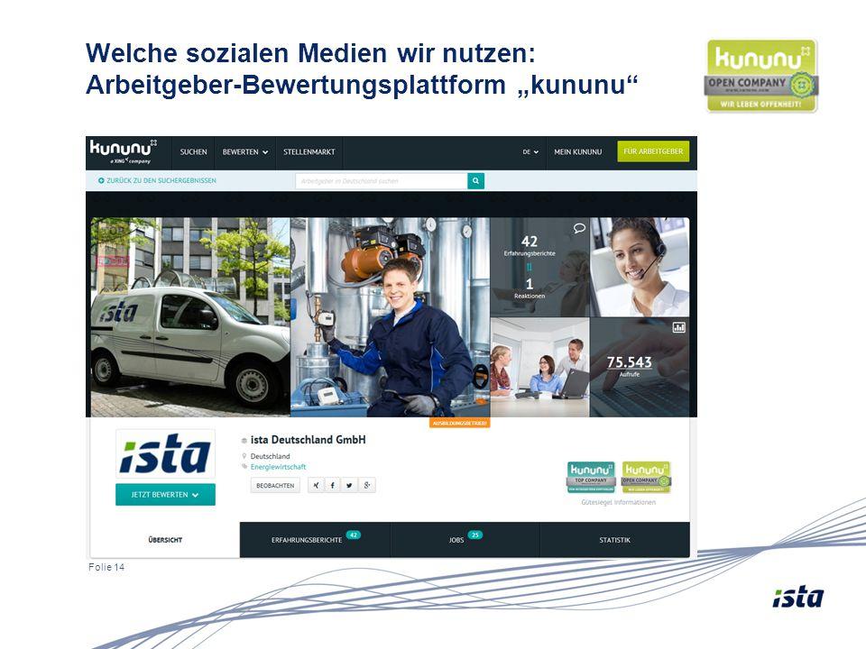 """Folie 14 Welche sozialen Medien wir nutzen: Arbeitgeber-Bewertungsplattform """"kununu"""