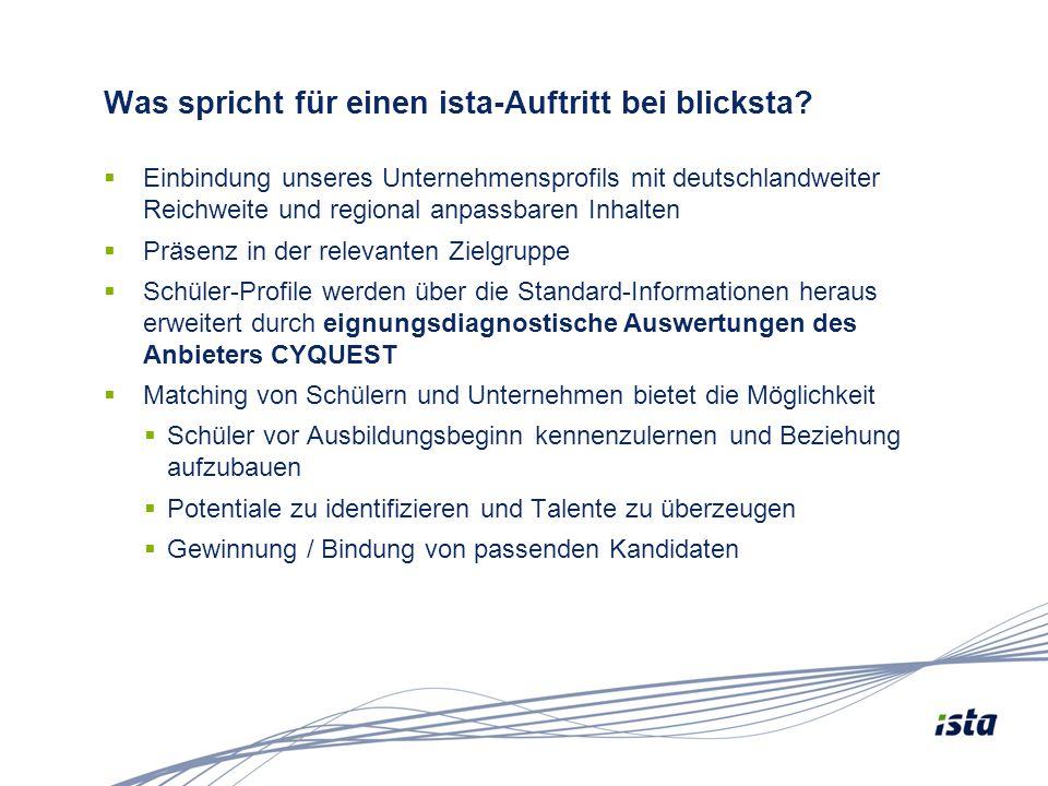 Was spricht für einen ista-Auftritt bei blicksta?  Einbindung unseres Unternehmensprofils mit deutschlandweiter Reichweite und regional anpassbaren I