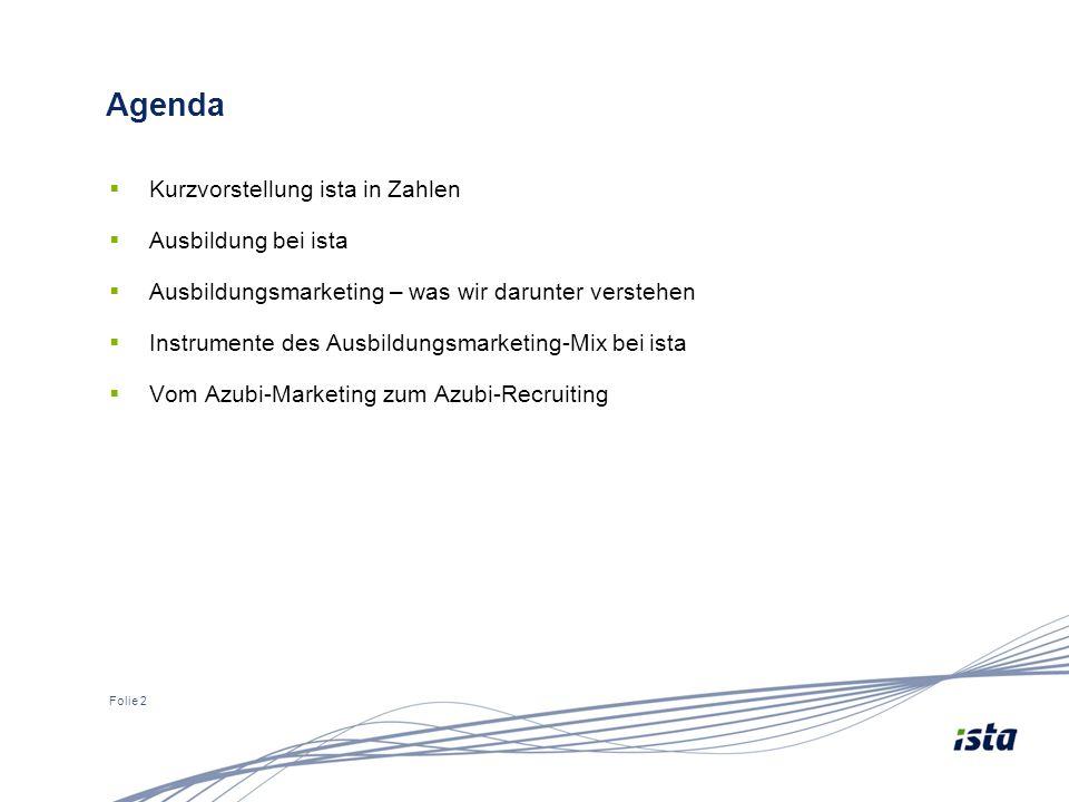 Folie 2 Agenda  Kurzvorstellung ista in Zahlen  Ausbildung bei ista  Ausbildungsmarketing – was wir darunter verstehen  Instrumente des Ausbildungsmarketing-Mix bei ista  Vom Azubi-Marketing zum Azubi-Recruiting