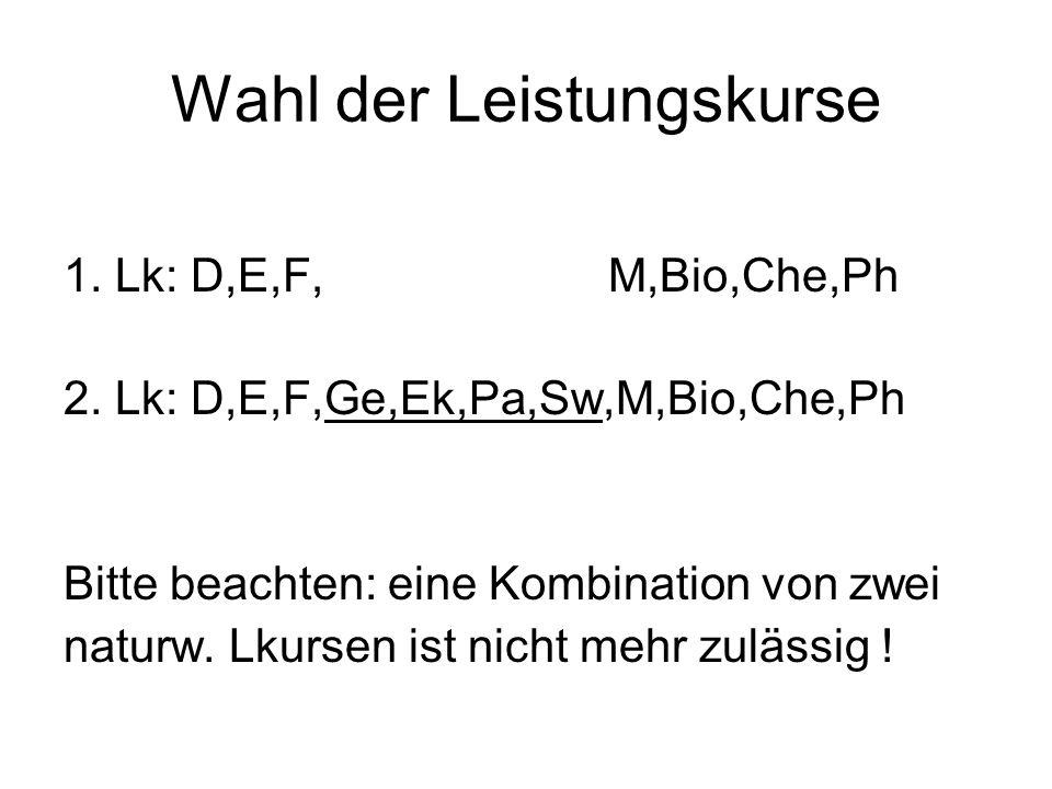 Wahl der Leistungskurse 1. Lk: D,E,F, M,Bio,Che,Ph 2.