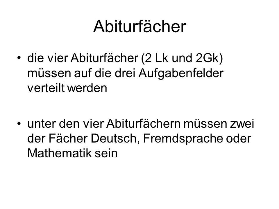 Abiturfächer die vier Abiturfächer (2 Lk und 2Gk) müssen auf die drei Aufgabenfelder verteilt werden unter den vier Abiturfächern müssen zwei der Fächer Deutsch, Fremdsprache oder Mathematik sein