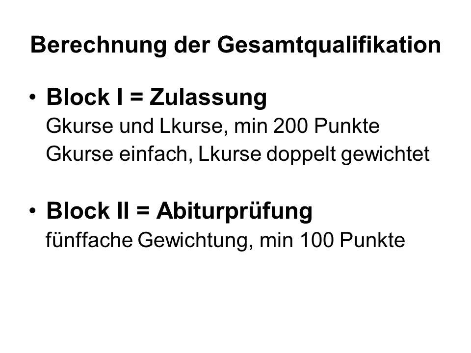 Berechnung der Gesamtqualifikation Block I = Zulassung Gkurse und Lkurse, min 200 Punkte Gkurse einfach, Lkurse doppelt gewichtet Block II = Abiturprüfung fünffache Gewichtung, min 100 Punkte