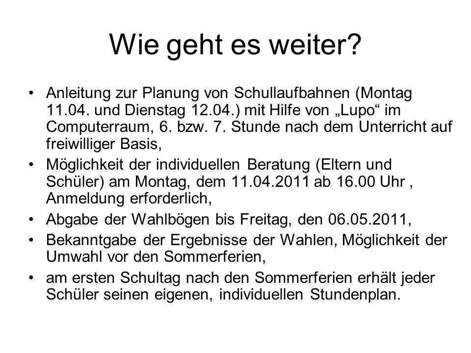 Wie geht es weiter. Anleitung zur Planung von Schullaufbahnen (Montag 11.04.