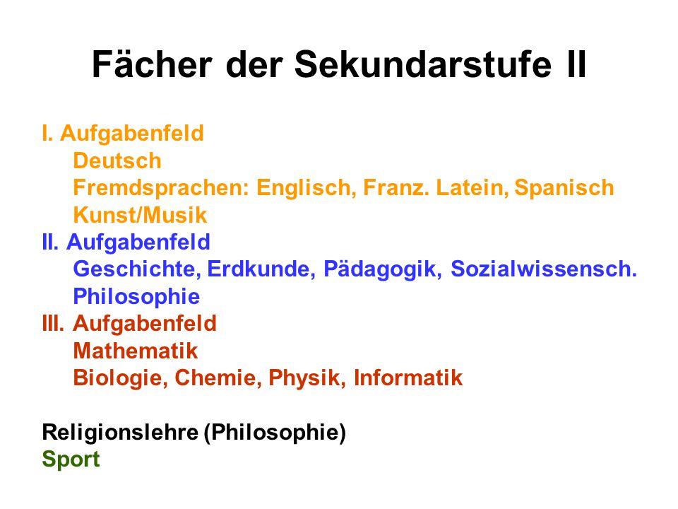 Fächer der Sekundarstufe II I. Aufgabenfeld Deutsch Fremdsprachen: Englisch, Franz.