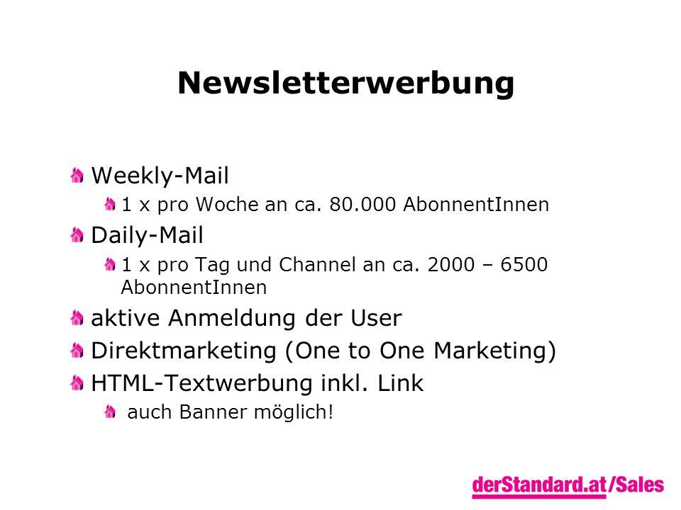 Newsletterwerbung Weekly-Mail 1 x pro Woche an ca.