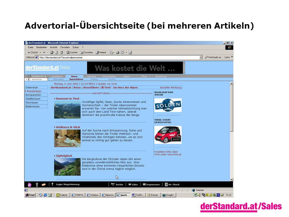 Advertorial-Übersichtseite (bei mehreren Artikeln)