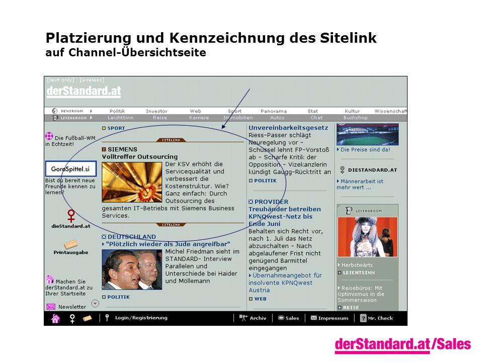 Platzierung und Kennzeichnung des Sitelink auf Channel-Übersichtseite