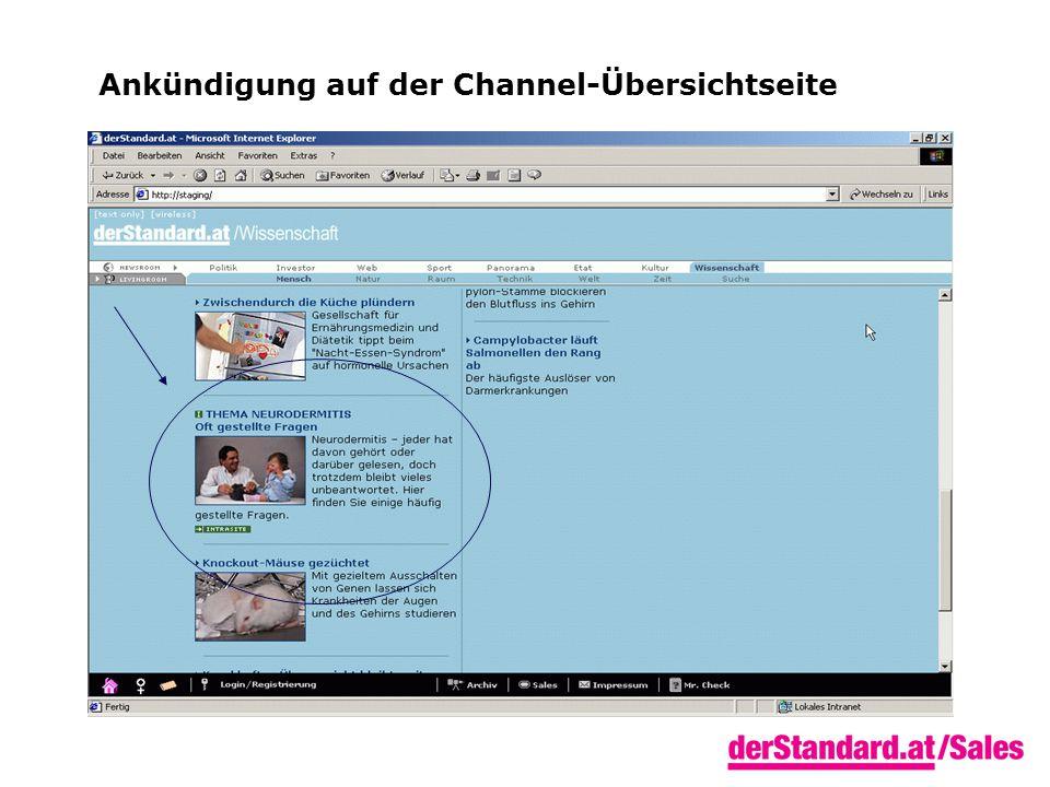 Ankündigung auf der Channel-Übersichtseite