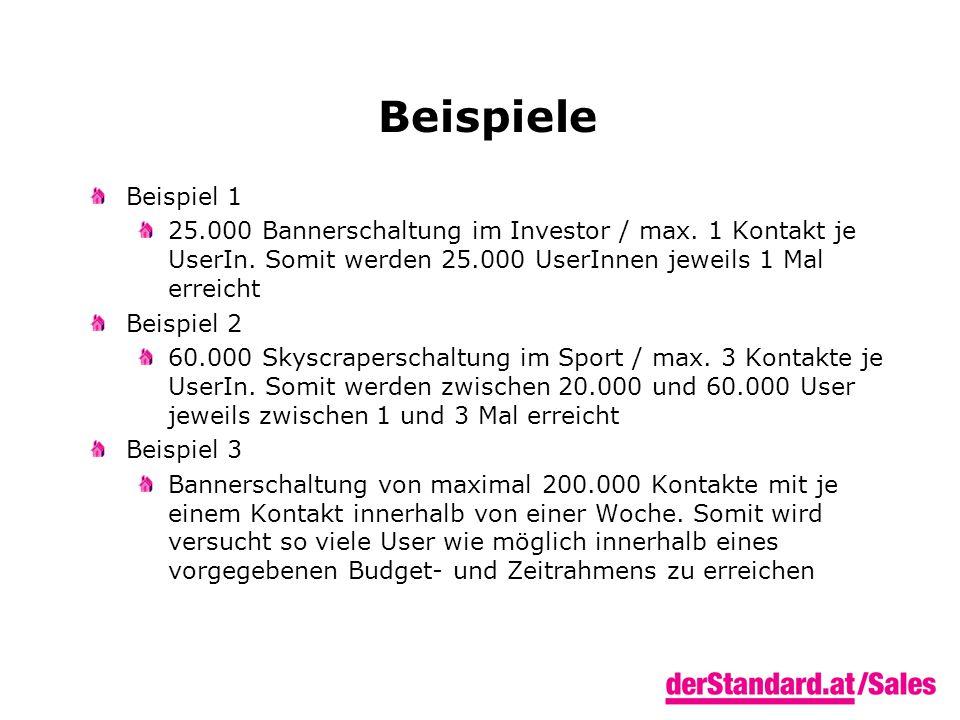 Beispiele Beispiel 1 25.000 Bannerschaltung im Investor / max.