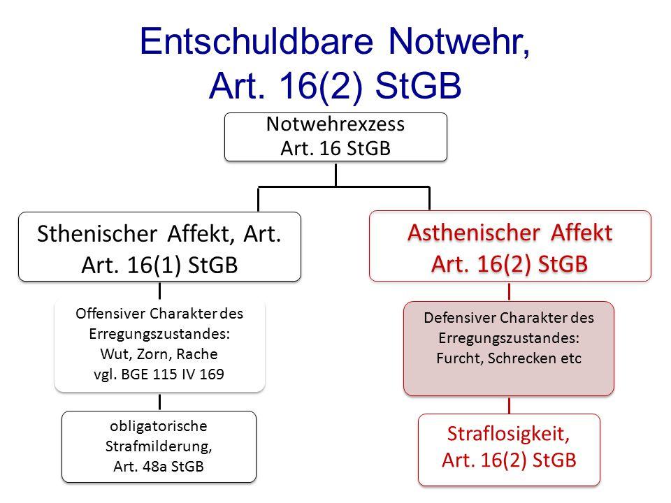 Notwehrexzess Art. 16 StGB Sthenischer Affekt, Art. Art. 16(1) StGB Defensiver Charakter des Erregungszustandes: Furcht, Schrecken etc Defensiver Char
