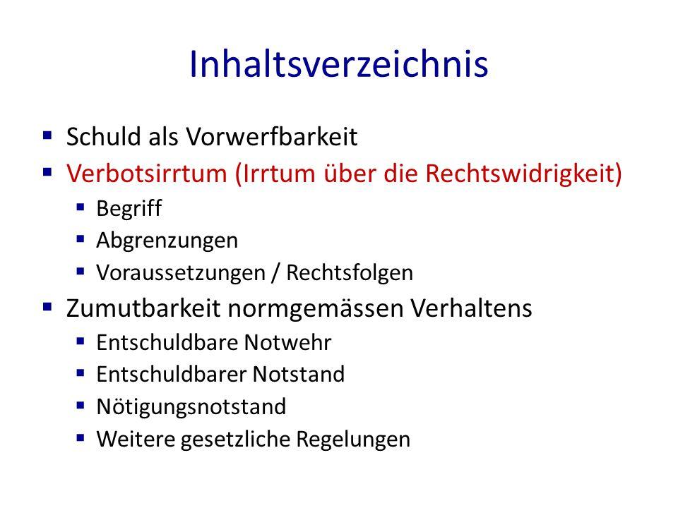 Voraussetzungen / Konsequenzen des Verbotsirrtums, Art.