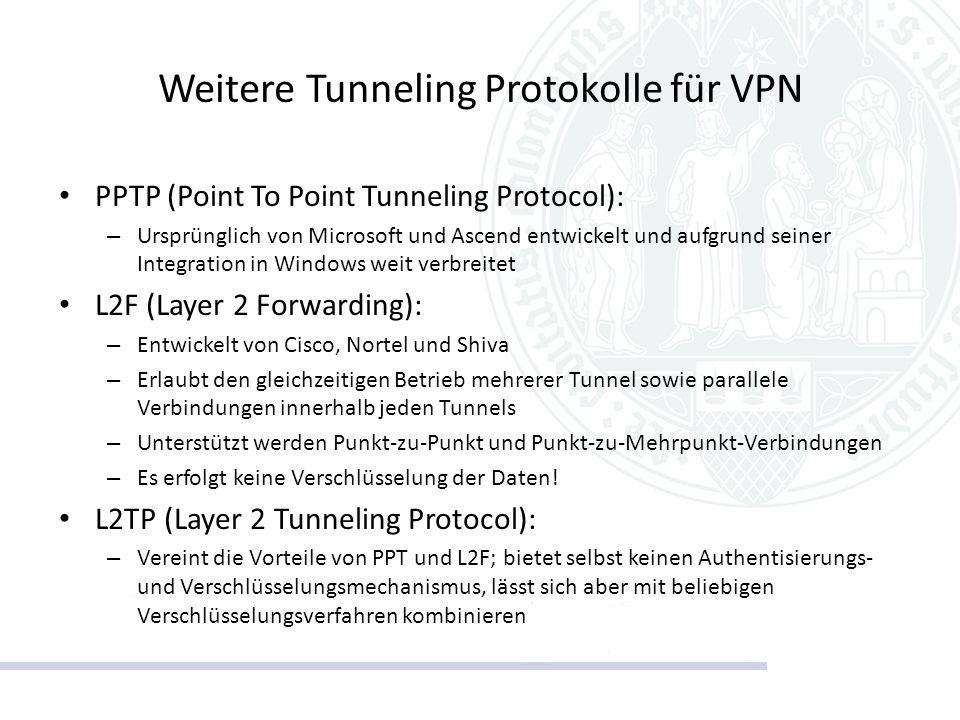 Weitere Tunneling Protokolle für VPN PPTP (Point To Point Tunneling Protocol): – Ursprünglich von Microsoft und Ascend entwickelt und aufgrund seiner