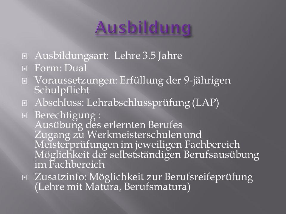  Ausbildungsart: Lehre 3.5 Jahre  Form: Dual  Voraussetzungen: Erfüllung der 9-jährigen Schulpflicht  Abschluss: Lehrabschlussprüfung (LAP)  Bere