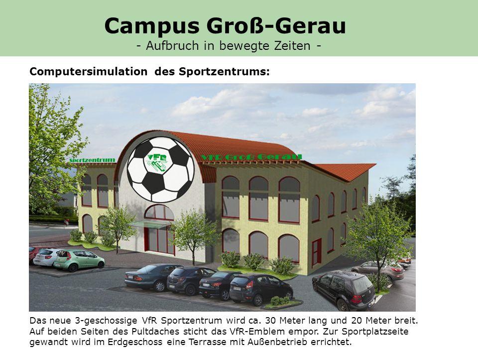 Computersimulation des Sportzentrums: Das neue 3-geschossige VfR Sportzentrum wird ca.