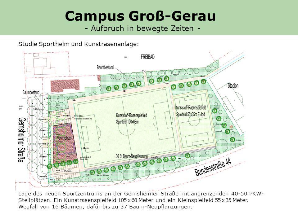 Lage des neuen Sportzentrums an der Gernsheimer Straße mit angrenzenden 40-50 PKW- Stellplätzen.