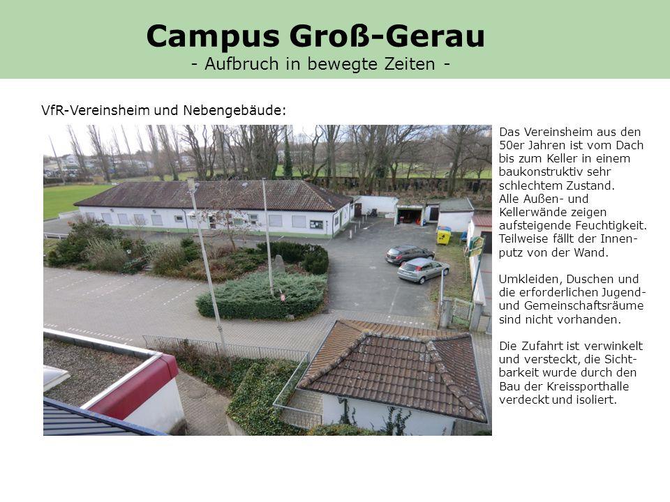 Bereits im Herbst 2010 wurde im Präsidium des VfR Groß-Gerau beschlossen, bis spätestens 2016 ein neues Sportzentrum auf dem Vereinsgelände zu errichten.