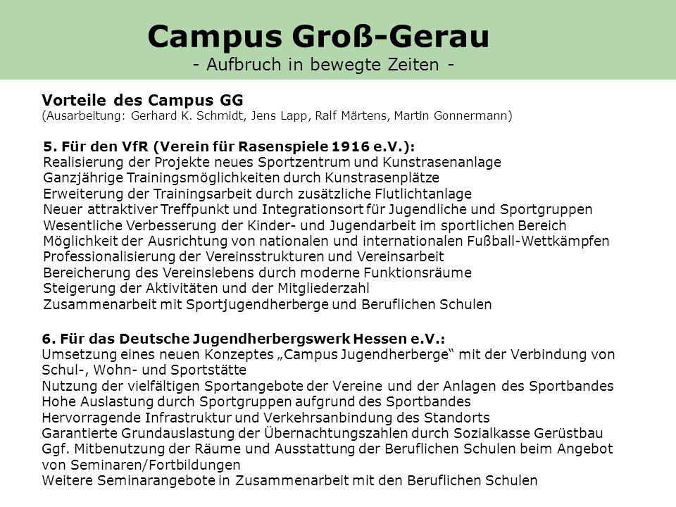5. Für den VfR (Verein für Rasenspiele 1916 e.V.): Realisierung der Projekte neues Sportzentrum und Kunstrasenanlage Ganzjährige Trainingsmöglichkeite