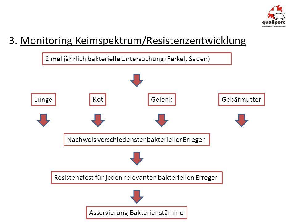 3. Monitoring Keimspektrum/Resistenzentwicklung 2 mal jährlich bakterielle Untersuchung (Ferkel, Sauen) Nachweis verschiedenster bakterieller Erreger