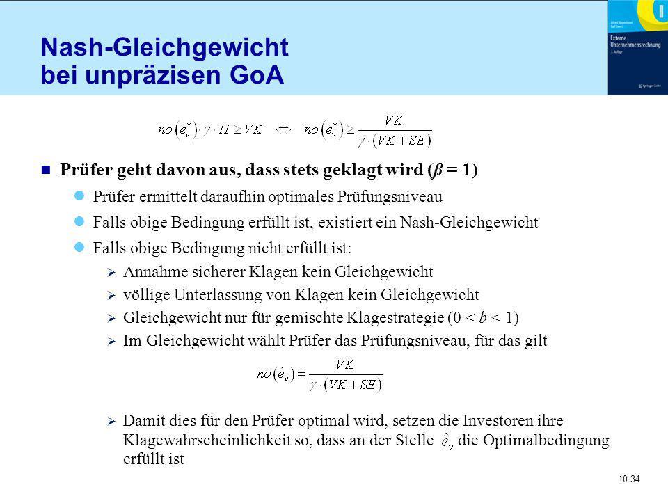10.34 Nash-Gleichgewicht bei unpräzisen GoA n Prüfer geht davon aus, dass stets geklagt wird (ß = 1) Prüfer ermittelt daraufhin optimales Prüfungsniveau Falls obige Bedingung erfüllt ist, existiert ein Nash-Gleichgewicht Falls obige Bedingung nicht erfüllt ist:  Annahme sicherer Klagen kein Gleichgewicht  völlige Unterlassung von Klagen kein Gleichgewicht  Gleichgewicht nur für gemischte Klagestrategie (0 < b < 1)  Im Gleichgewicht wählt Prüfer das Prüfungsniveau, für das gilt  Damit dies für den Prüfer optimal wird, setzen die Investoren ihre Klagewahrscheinlichkeit so, dass an der Stelle die Optimalbedingung erfüllt ist