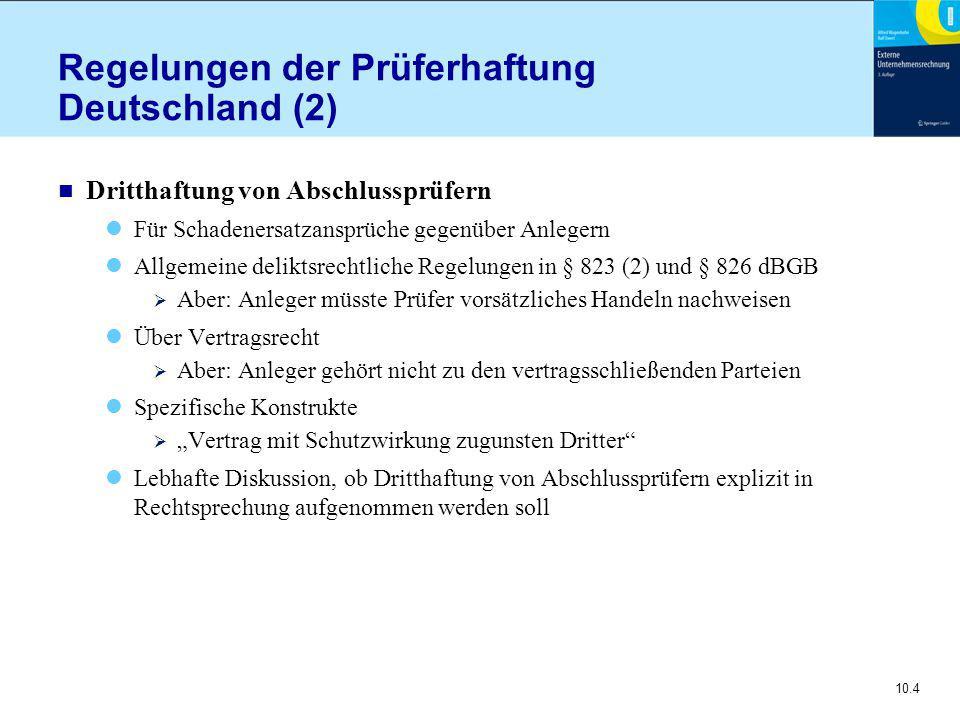 """10.4 Regelungen der Prüferhaftung Deutschland (2) n Dritthaftung von Abschlussprüfern Für Schadenersatzansprüche gegenüber Anlegern Allgemeine deliktsrechtliche Regelungen in § 823 (2) und § 826 dBGB  Aber: Anleger müsste Prüfer vorsätzliches Handeln nachweisen Über Vertragsrecht  Aber: Anleger gehört nicht zu den vertragsschließenden Parteien Spezifische Konstrukte  """"Vertrag mit Schutzwirkung zugunsten Dritter Lebhafte Diskussion, ob Dritthaftung von Abschlussprüfern explizit in Rechtsprechung aufgenommen werden soll"""