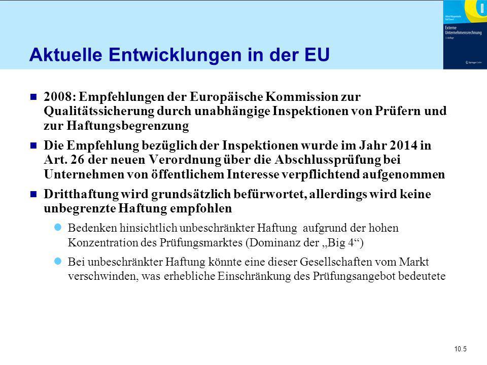 10.5 Aktuelle Entwicklungen in der EU n 2008: Empfehlungen der Europäische Kommission zur Qualitätssicherung durch unabhängige Inspektionen von Prüfern und zur Haftungsbegrenzung n Die Empfehlung bezüglich der Inspektionen wurde im Jahr 2014 in Art.