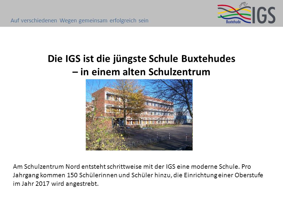 Die IGS ist die jüngste Schule Buxtehudes – in einem alten Schulzentrum Am Schulzentrum Nord entsteht schrittweise mit der IGS eine moderne Schule. Pr