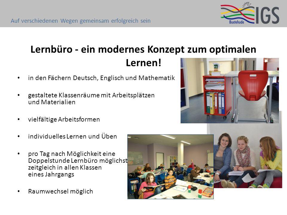 Lernbüro - ein modernes Konzept zum optimalen Lernen! in den Fächern Deutsch, Englisch und Mathematik gestaltete Klassenräume mit Arbeitsplätzen und M