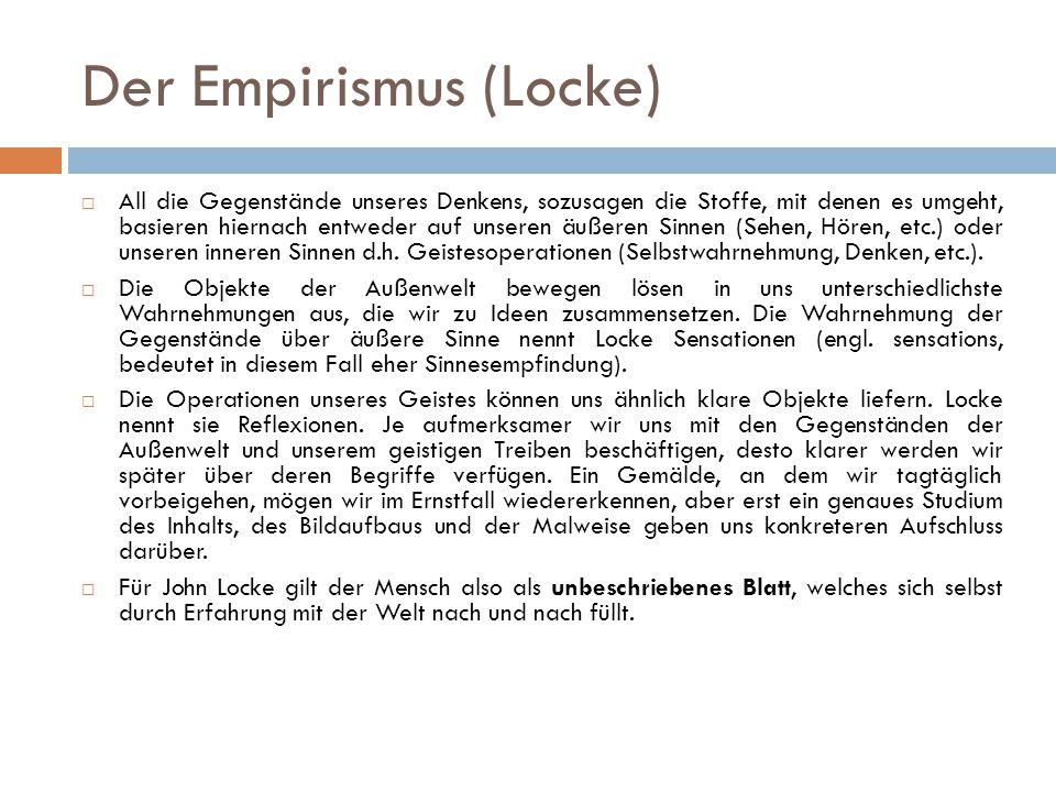 Der Empirismus (Locke)  All die Gegenstände unseres Denkens, sozusagen die Stoffe, mit denen es umgeht, basieren hiernach entweder auf unseren äußere