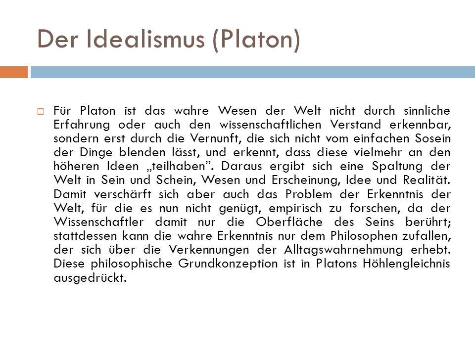 Platons Höhlengleichnis  In seinem Höhlengleichnis schildert Platon, auf welche Weise eine eingebildete, falsche Weltsicht (eines naiven Realismus) durch die reflektierte, wahre Weltsicht seiner Ideenlehre überwunden werden kann.