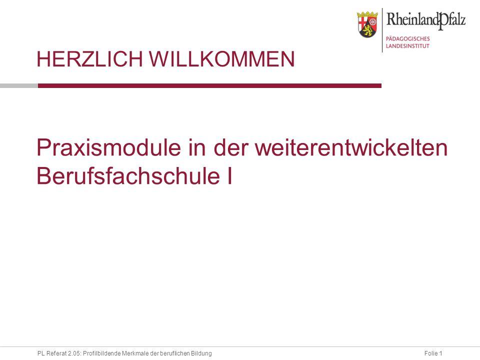 Folie 1PL Referat 2.05: Profilbildende Merkmale der beruflichen Bildung Praxismodule in der weiterentwickelten Berufsfachschule I HERZLICH WILLKOMMEN