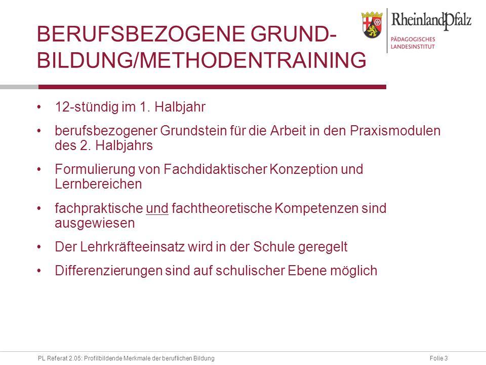 Folie 3PL Referat 2.05: Profilbildende Merkmale der beruflichen Bildung BERUFSBEZOGENE GRUND- BILDUNG/METHODENTRAINING 12-stündig im 1.