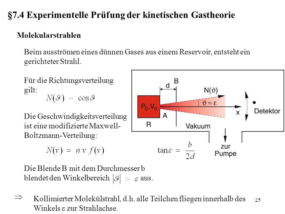 §7.4 Experimentelle Prüfung der kinetischen Gastheorie Molekularstrahlen Beim ausströmen eines dünnen Gases aus einem Reservoir, entsteht ein gerichteter Strahl.