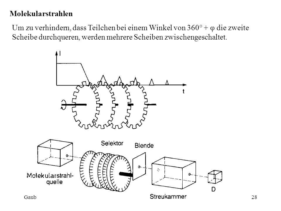 Molekularstrahlen Um zu verhindern, dass Teilchen bei einem Winkel von 360° + φ die zweite Scheibe durchqueren, werden mehrere Scheiben zwischengeschaltet.