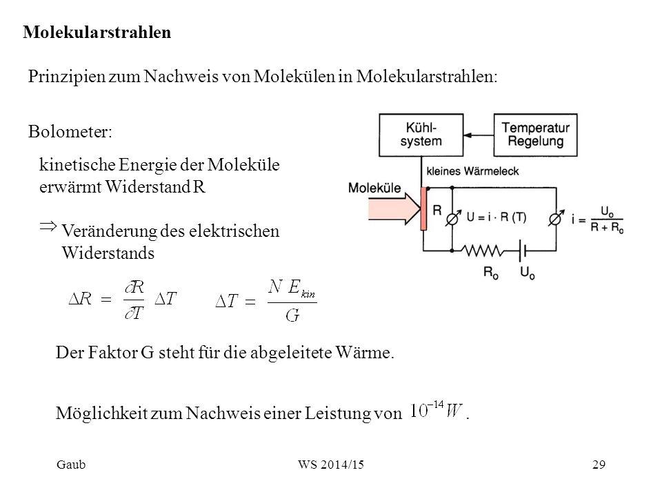 Molekularstrahlen Prinzipien zum Nachweis von Molekülen in Molekularstrahlen: Ionisationsdetektor: Ionisation der einfallenden Teilchen durch Elektronen  Nachweis eines elektrischen Stroms beim Aufsammeln der Ionen Erzeugter Strom bei Teilchenfluss N und einfacher Ionisation mit der Ionisationswahrscheinlichkeit η: Gaub30WS 2014/15