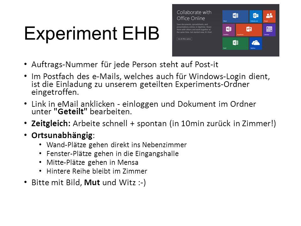 Experiment EHB Auftrags-Nummer für jede Person steht auf Post-it Im Postfach des e-Mails, welches auch für Windows-Login dient, ist die Einladung zu unserem geteilten Experiments-Ordner eingetroffen.