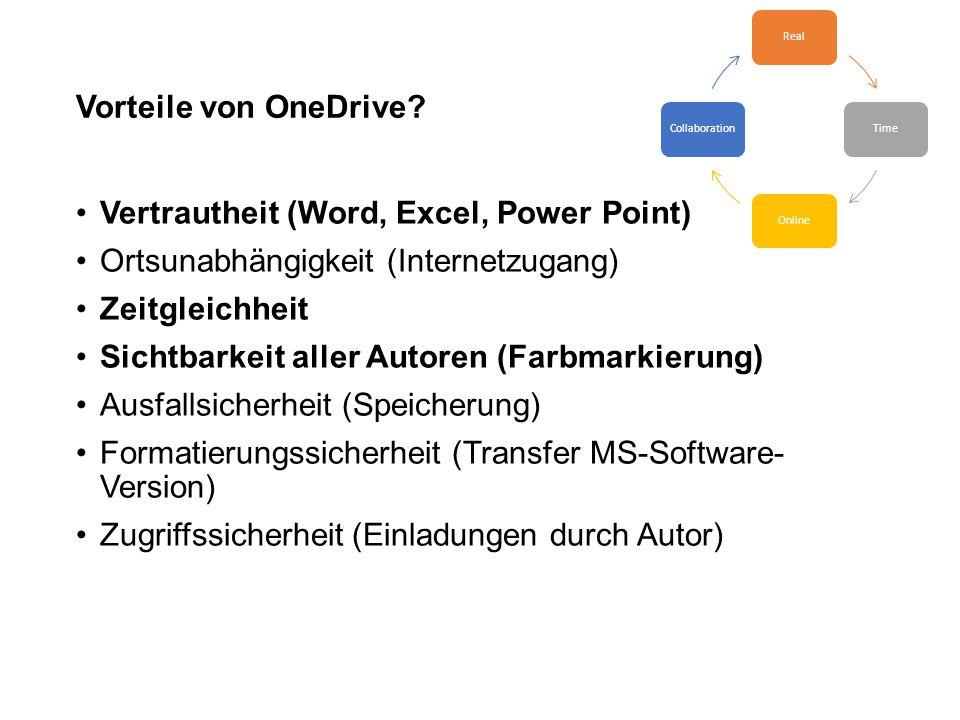 Vorteile von OneDrive? Vertrautheit (Word, Excel, Power Point) Ortsunabhängigkeit (Internetzugang) Zeitgleichheit Sichtbarkeit aller Autoren (Farbmark