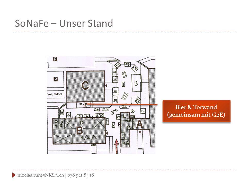 SoNaFe – Unser Stand nicolas.ruh@NKSA.ch | 078 921 84 18 Bier & Torwand (gemeinsam mit G2E) Bier & Torwand (gemeinsam mit G2E)