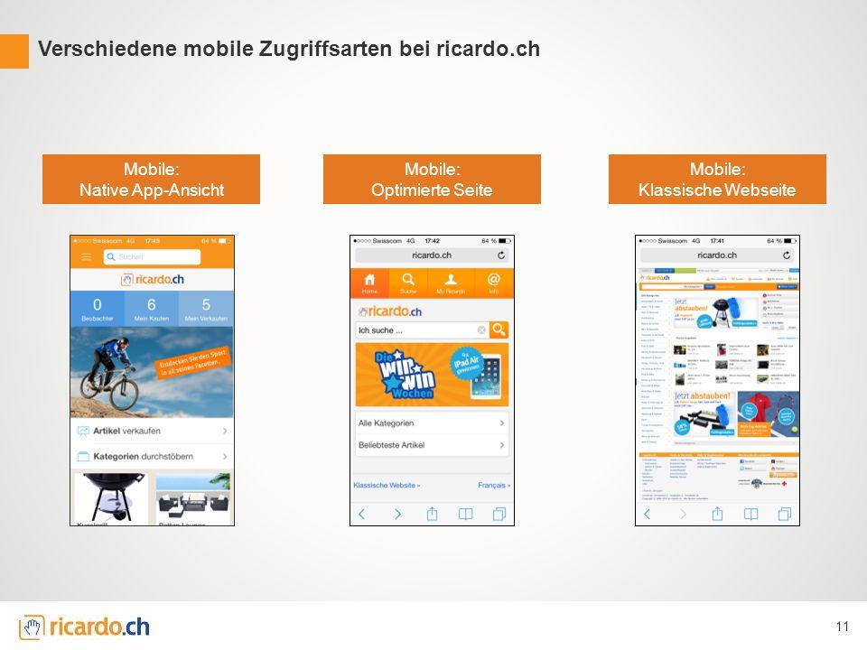11 Verschiedene mobile Zugriffsarten bei ricardo.ch Mobile: Klassische Webseite Mobile: Optimierte Seite Mobile: Native App-Ansicht