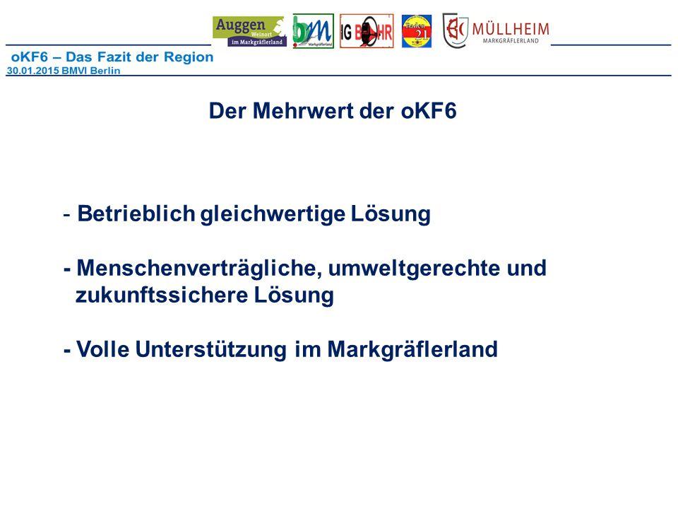 Der Mehrwert der oKF6 - Betrieblich gleichwertige Lösung - Menschenverträgliche, umweltgerechte und zukunftssichere Lösung - Volle Unterstützung im Markgräflerland