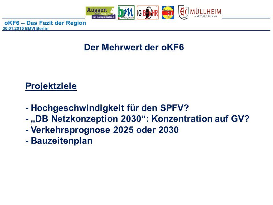 Der Mehrwert der oKF6 Projektziele - Hochgeschwindigkeit für den SPFV.