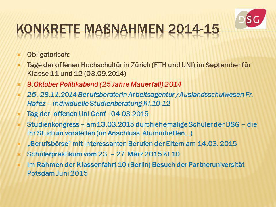  Obligatorisch:  Tage der offenen Hochschultür in Zürich (ETH und UNI) im September für Klasse 11 und 12 (03.09.2014)  9.Oktober Politikabend (25 J