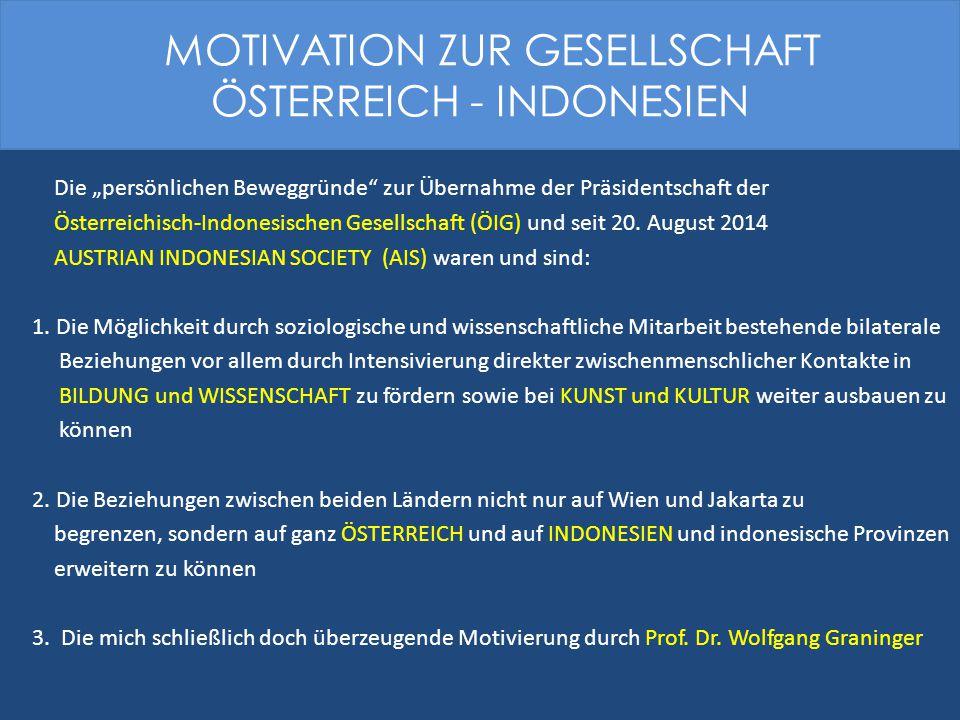 """Die """"persönlichen Beweggründe zur Übernahme der Präsidentschaft der Österreichisch-Indonesischen Gesellschaft (ÖIG) und seit 20."""