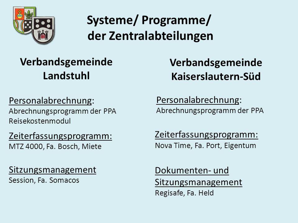 Systeme/ Programme/ der Zentralabteilungen Personalabrechnung: Abrechnungsprogramm der PPA Reisekostenmodul Zeiterfassungsprogramm: MTZ 4000, Fa.