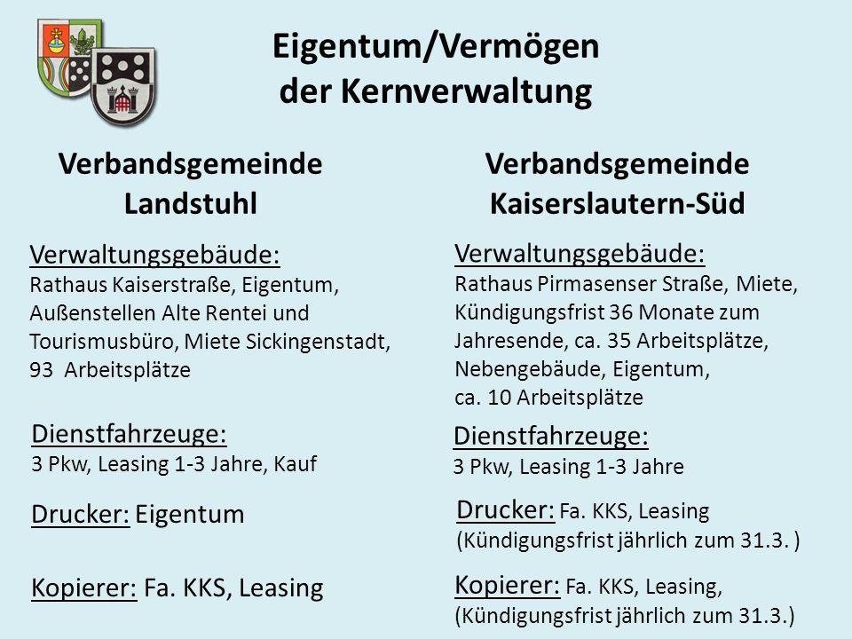 Eigentum/Vermögen der Kernverwaltung Verbandsgemeinde Landstuhl Verbandsgemeinde Kaiserslautern-Süd Drucker: Eigentum Kopierer: Fa. KKS, Leasing Druck