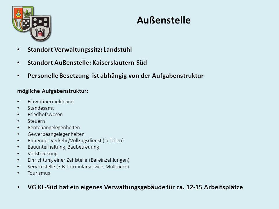 Außenstelle Standort Verwaltungssitz: Landstuhl Standort Außenstelle: Kaiserslautern-Süd Personelle Besetzung ist abhängig von der Aufgabenstruktur mö