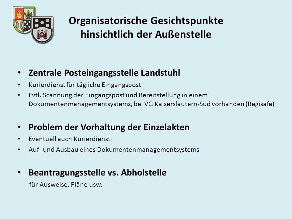Organisatorische Gesichtspunkte hinsichtlich der Außenstelle Zentrale Posteingangsstelle Landstuhl Kurierdienst für tägliche Eingangspost Evtl. Scannu