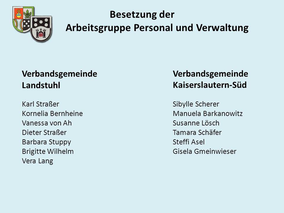 Besetzung der Arbeitsgruppe Personal und Verwaltung Verbandsgemeinde Landstuhl Karl Straßer Kornelia Bernheine Vanessa von Ah Dieter Straßer Barbara S