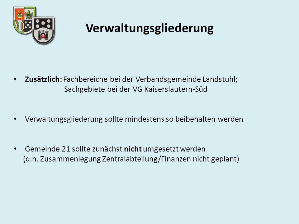 Verwaltungsgliederung Zusätzlich: Fachbereiche bei der Verbandsgemeinde Landstuhl; Sachgebiete bei der VG Kaiserslautern-Süd Verwaltungsgliederung sollte mindestens so beibehalten werden Gemeinde 21 sollte zunächst nicht umgesetzt werden (d.h.