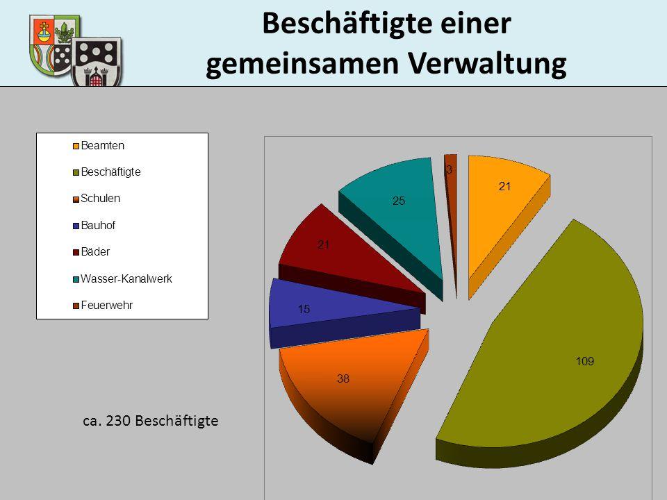 Beschäftigte einer gemeinsamen Verwaltung ca. 230 Beschäftigte